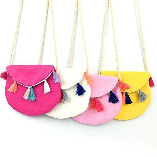 Monbedos Bolso bandolera para niñas, diseño de flores, 4 colores rojo rosado