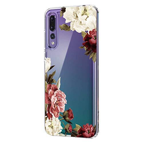 uawei P20 Lite Clear Tasche Hülle Flexibel TPU Silikon Fashion Flower Design HandyhülleTransparent Schutzhülle für Huawei P20 Pro (11, P20 Lite) ()