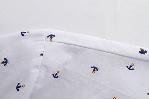 SSLR Herren Freizeit Straight Fit Printing Casual Kurzarm Hemd Weiß