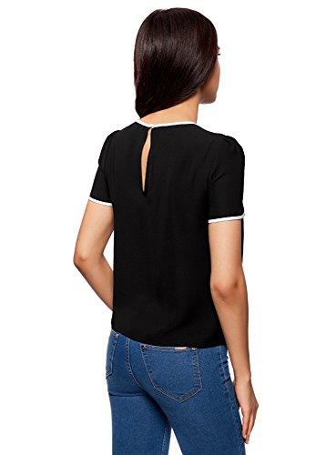oodji Ultra Damen Kurzarm-Bluse mit Bindebändern und Kontrastbesatz Schwarz (2900N)