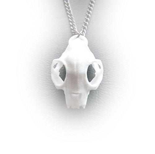 Il gatto e il lupo, Rogue Teschio Collana in Bianco-3d stampato gotico gioielli