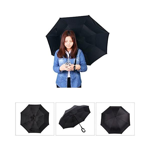 Ombrello reversibile apertura chiusura al contrario zona anti pioggia isolata!!!