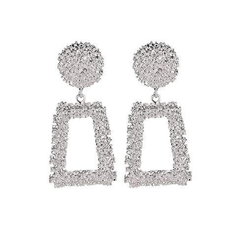 SO-buts Geometrische Ohrringe,Damen Anhänger Ohrringe,Lange Ohrringe aus Metall,Matte Trend Trapezförmige Ohrringe (Silber) -