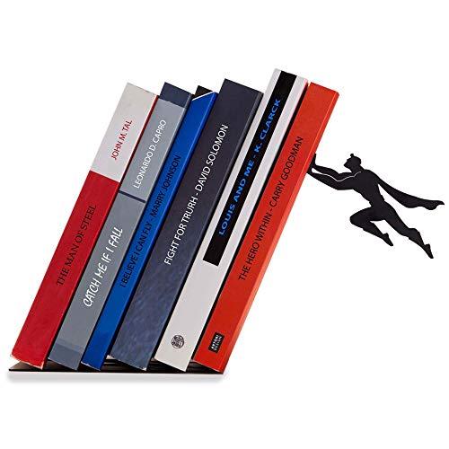 Artori Design Book & Hero | Sujetalibros de superhéroe metálico en color negro | Sujetalibros únicos | Regalo para geeks | Regalos para lectores | Tope para libros original | Regalo para el día del padre | Regalos para padres