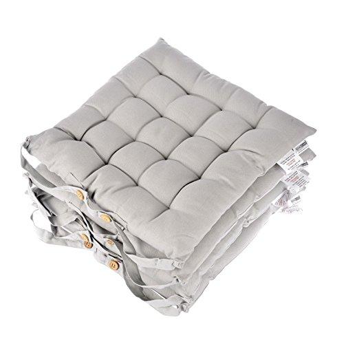 Homescapes Stuhlkissen 40x40 cm 4er Set grau Stuhlauflage mit Bändern und Knopfverschluss Bezug...
