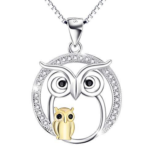 YFN Ketten Damen 925 Sterling Silber Glück Mutter und Kind Eule Anhänger Halskette,Geschenke für Frauen 45,7 cm Kasten Kette