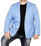 bonprix Herren Sakko untersetzt Comfort Fit Baumwoll Übergröße Blazer Zweiknopf Jackett Anzug Langgröße bequem Spezialgröße, Größe 27, hellblau