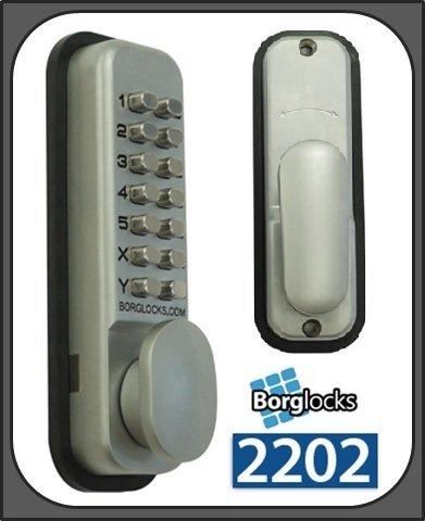 Borg 2202 Digital Push Button Lock - Light Duty Mortice Latch - Satin Chrome by Borg Locks -