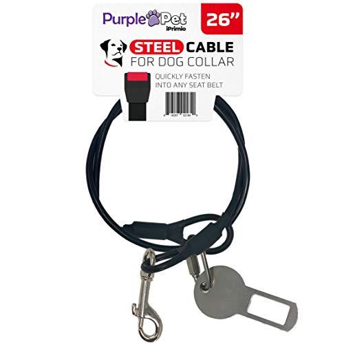 iPrimio Halsband Dog Kabel für-Clip in Den Autositz-aus Stahl mit Gummi Beschichtung-Kauen Mäßigenden Geschirr Gürtel für für Ihre Pet Travel, 26
