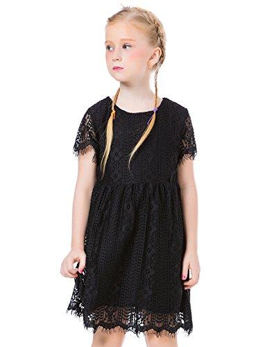 ephex Mädchen Kleid Spitze Chiffon Kleid Kleiden Abendkleid Spitzenkleid Kurz Ärmel Party Festliches Kleid Schwarz 120CM(5 Years)