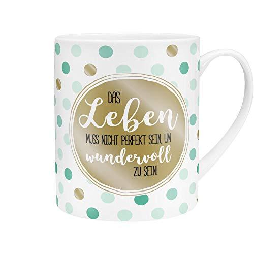 Die Geschenkewelt 45758 XL Kaffee-Tasse mit Spruch, Das Leben muss nicht perfekt sein, Porzellan, 60 cl, mit Geschenk-Banderole
