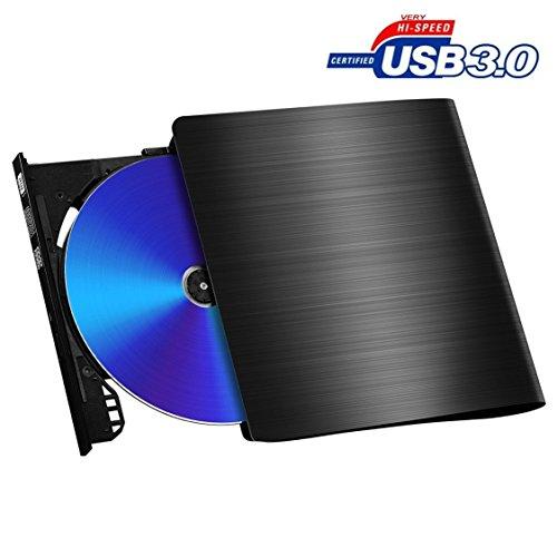 External DVD Drive, [Upgraded Version][USB 3.0]Pictek DVD Writer, External CD Drive, Optical Drive USB DVD Drive CD-RW Burner With Embedded USB Cable for Mac Apple Air /Pro Laptop Desktop Test