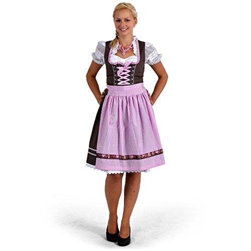Dirndl Midi Deluxe Dorothea Tracht Damen 2-teilig Kleid mittellang mit Schürze braun rosa - L