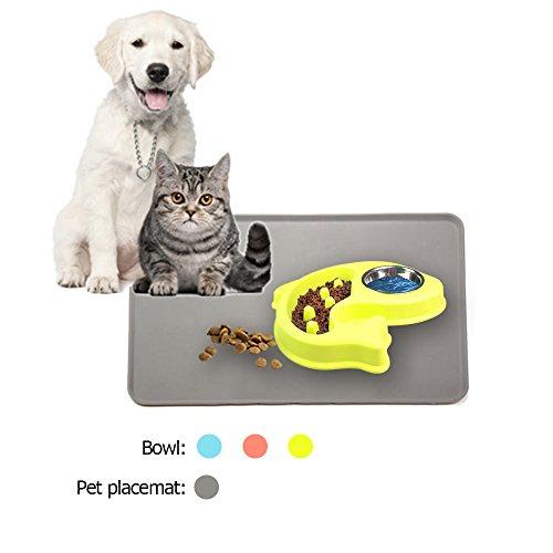 Hundenapf Katzennapf Langsam Futternapf für Klein Haustier Katzen Hunde Essen und Trinken mit Grau Rechteck Napfunterlage Silikon Futternapf Fisch Grüne (Fisch-schüssel Trinken)