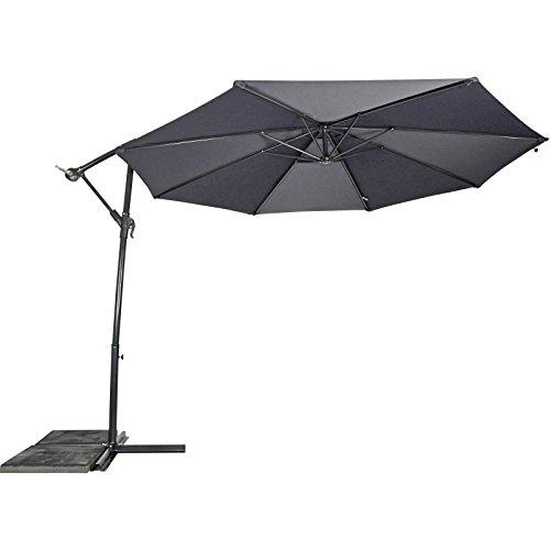 AMPELSCHIRM 3m grau #13 Sonnenschirm Schirm Kurbel Fuß Gartenschirm anthrazit