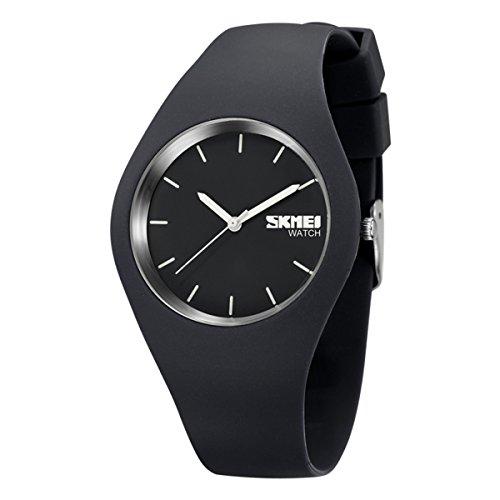 Sport Quarzuhr Mehrfarbige Silikon Uhrenarmbänder Armbanduhren für Damen Armbanduhren für Herren Armbanduhren für Jungen, Unisex,Grau