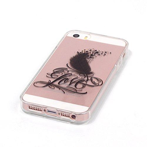 Pheant®[4 in 1] Apple iPhone SE/5S/5 Coque Gel en Souple Silicone Transparent Cas avec Verre Trempé Protecteur d'écran Stylet Bouchon Anti-poussière(éléphant) Coeur Plume