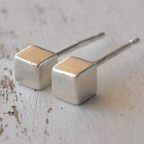 Perni cubetti Sterling Silver Post 4 mm