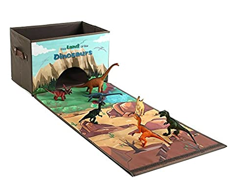 Dinosaur Toys Chest Storage Box Playset, Children Play Mat with 7 Action Figures, Gifts for Children