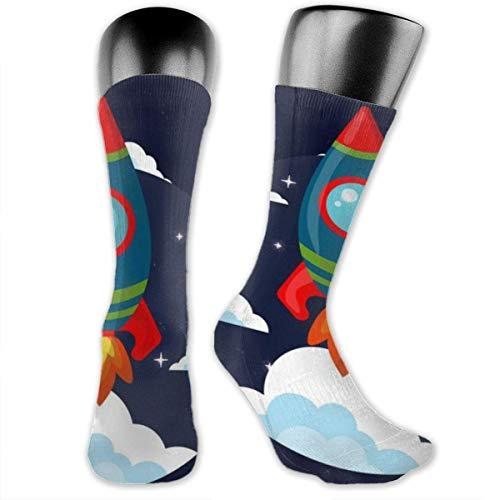 Unisex Performance Cushion Crew Socks Schlauch Socken Cartoon Rocket New Middle High Socken Sport Gym Socken (High-cut-socken Der Männer)