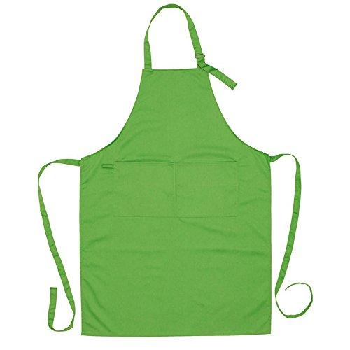Einfache Jungs Gute Kostüm - Küchenschürze mit 2 aufgenähten Vordertaschen Grillschürze mit Metall Schnalle Backschürze (grün)