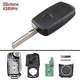 PathChina® 5K0837202AD Schlüsselloser 3-Tasten-Schlüsselanhänger, 434 MHz, für Volkswagen Käfer, Caddy Tiguan, Touran, Arriba/EOS, Golf/Jetta, Polo/Scirocco