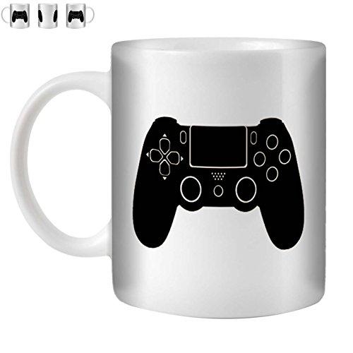 STUFF4 Tazza di Caffè/Tè 350ml/Black/Playstation 4/Ceramica Bianca/ST10
