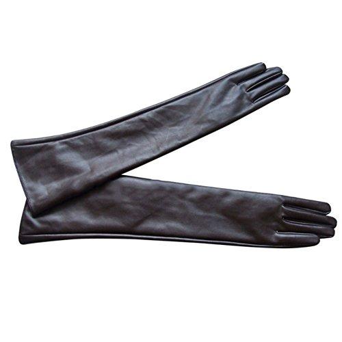Moresave Damen Elbow lange Wärmer Handschuhe Abendkleid Driving Opera PU Leder Handschuhe - Winter Leder Lange Mantel
