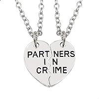 """مجموعة قلادات من قطعتين تحمل عبارة """"Partners in Crime"""" لأفضل الأصدقاء والأزواج"""