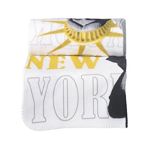 Douceur d'Intérieur Dessin Place Plaid Polaire Imprimée New York Jaune