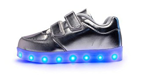 [Present:kleines Handtuch]JUNGLEST® Kinder Jungen Mädchen LED Schuhe Leuchtend Sneaker Farbwechsel Fluorescence Turnschuhe Sportsschuh Silber