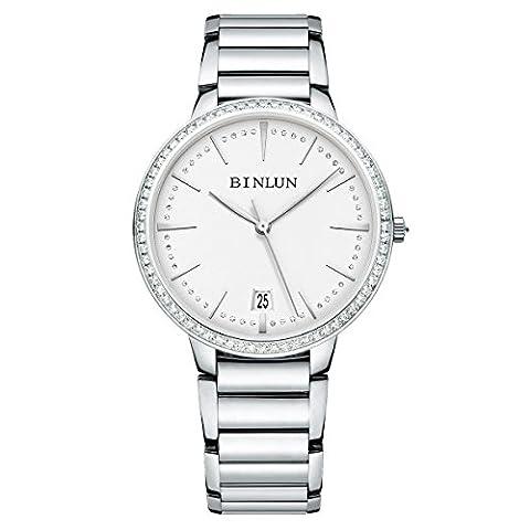 Binlun Elle et Lui Cadeau Amant montres étanche Sliver ultrafin automatique montre pour homme avec date