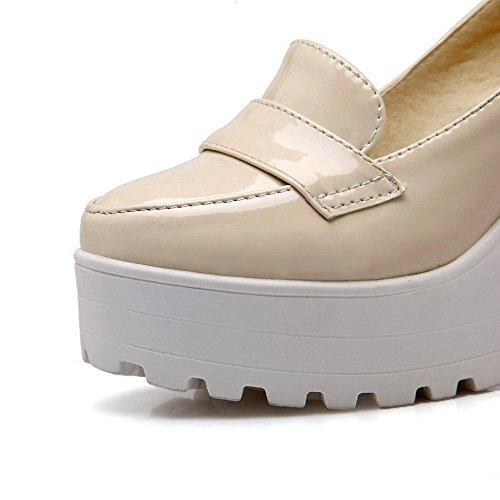 AllhqFashion Damen Ziehen Auf Hoher Absatz Pu Leder Rein Rund Zehe Pumps Schuhe Aprikosen Farbe