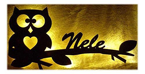 Schlummerlicht24 Ast Eule Hearty mit Name nach Wunsch, Led-Lampe für das Kinder-Zimmer Wohnzimmer Flur Schlafzimmer
