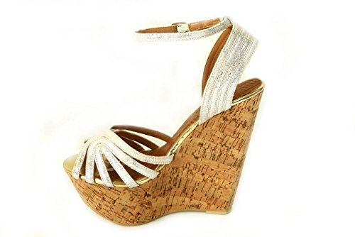 Mesdames pour femme Soutien-gorge Effet Boucle Haute Wedge Talon Plateforme en liège Peep Toe chaussures sandale différents Designs Taille 345678 Blanc
