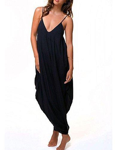 GSP-Combinaisons Aux femmes Sans Manches Décontracté Polyester Fin Micro-élastique black-xl