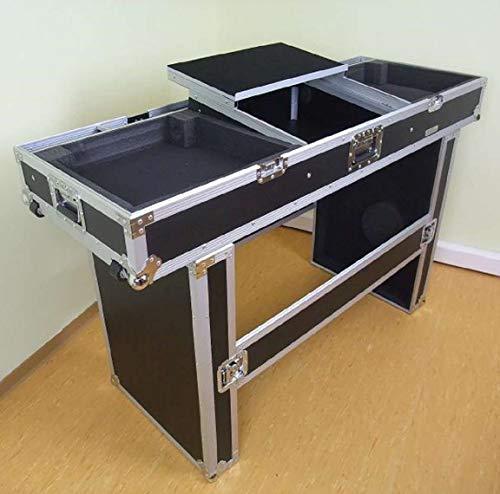 """TEGO PRO 27200 Konsole Road TISCH mit Laptopablage für 2 Plattenspieler, 19\"""" Mischpult und Laptop - Case Mobile Digital DJ Desk Flightcase"""