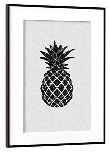 artboxONE Poster mit Rahmen Schwarz (Metallic) 45x30 cm 'Marble Pineapple' von Orara Studio -...