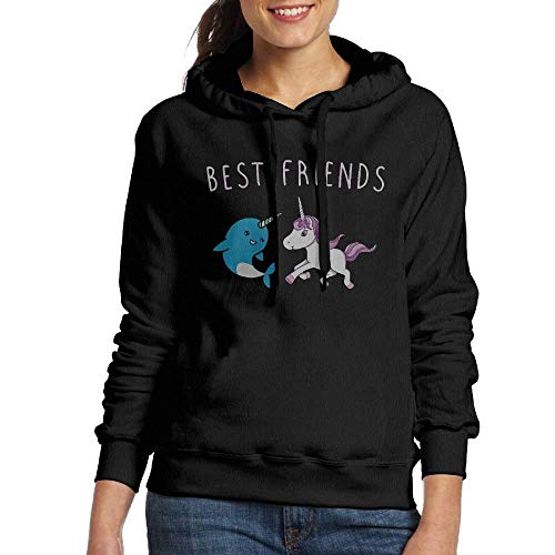 Womens Awesome Unicorn and Narwhal Best Friends Fashion Pullover Hoodie Hooded Sweatshirt