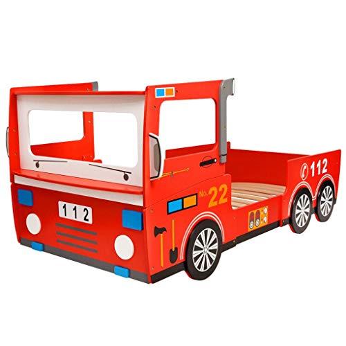 Festnight Cama Temática Infantil Coche de Camión de Bomberos con Barras de Protección 200x90 cm Rojo