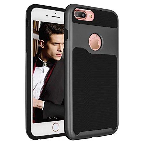 iPhone 7 plus hülle, Lantier 2 in 1 [weicher harter Tough Case][Anti Skid][Thin Slim Fit][Stoßdämpfung] Wellenmuster Rüstung Schutzhülle für Apple iPhone 7 Plus (5,5 Zoll) Silber+Pink Black