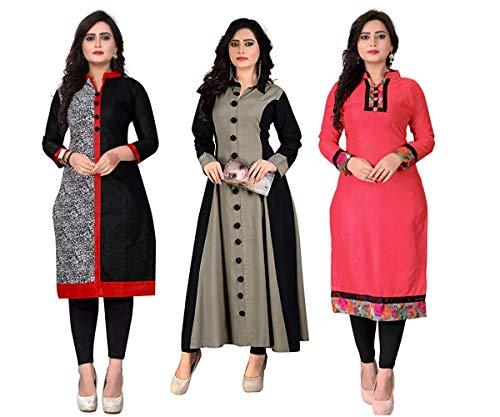Pramukh Fashion Women\'s Cotton Semi-stiched Kurti(M-21_Multicolour_46) - Pack of 3