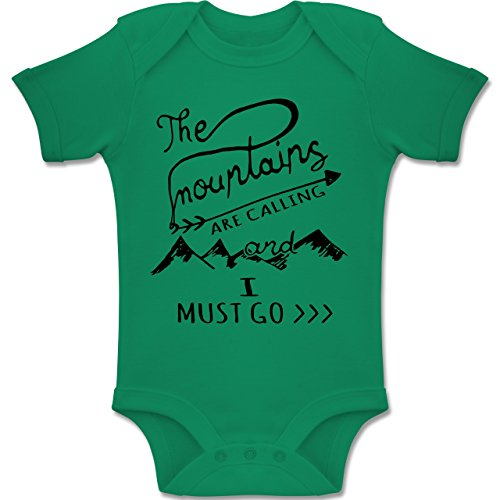 Up to Date Baby - The Mountains Are Calling - 6-12 Monate - Grün - BZ10 - Baby Body Kurzarm Jungen Mädchen