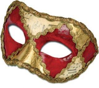 Karneval Venezianische Maske - Colombina scacchi rosso musica