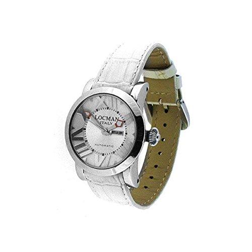 Montre Locman Unisex 029300whnnkc automatique acier Quandrante Argent Bracelet Cuir