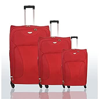 Travel Land - Set de 3 valises ensemble Trolley 4 roues 360 Travel Land Rouge