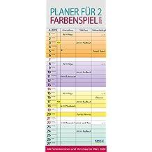 Farbenspiel - Planer für 2 2019: Familienplaner mit 3 breiten Spalten. Familienkalender mit farbigen Wochen, Ferienterminen, Vorschau bis März 2020.