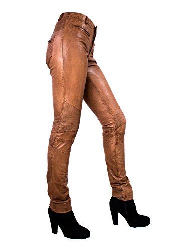 Yonna Damen Lederhose aus echtem Lamm Nappa Leder in diversen Farben Cognac
