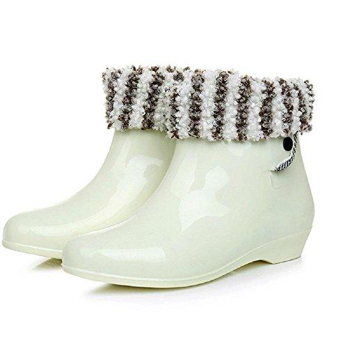 La signora slittamento adulti stivali da pioggia white + cotton
