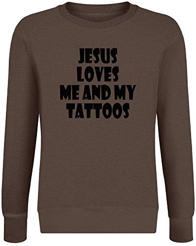 Jesus liebt Mich und Meine Tattoos - Jesus Loves Me and My Tattoos Sweatshirt Jumper Pullover for Men & Women Soft Cotton & Polyester Blend Unisex Clothing X-Large